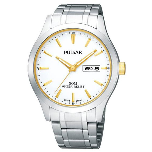 Pulsar Men's Stainless Steel Watch with Gold Tone Crown and Numeral Markers-0
