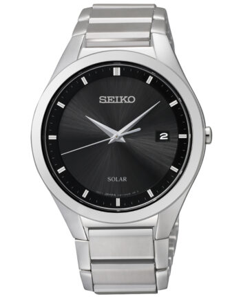 Seiko Men's Solar Black Face with Stainless Steel Band-0