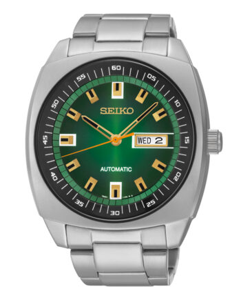 Seiko Men's Automatic Green Dial with Day and Date Display Stainless Steel Band -0