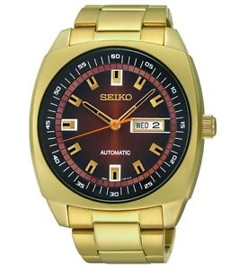 Seiko Men's Automatic Gold Tone Case with Day and Date Display-0