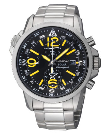 Seiko Men's Solar Chronograph Stainless Steel Case with Yellow Hands and Numerals-0