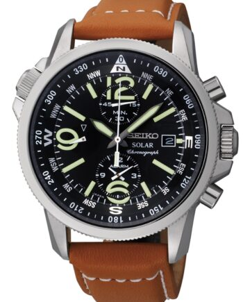 Seiko Men's Solar Chronograph with Brown Leather Strap-0