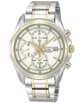 Seiko Men's Solar Chronograph Two Tone Stainless Steel Case and Band-0