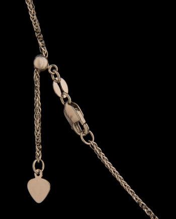 22 Inch Adjustable Wheat Chain 14K White Gold-0