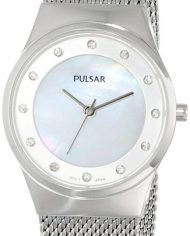 Pulsar Woman's Watch with Mesh Band and Crystal Accents-1592