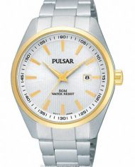 Men's Pulsar Watch Two Tone Stainless Steel with White Face-1593