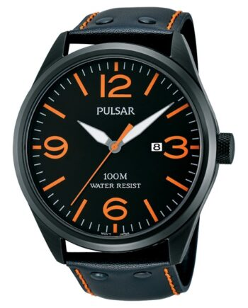 Pulsar Men's Watch with Orange Leather Band and Face-0