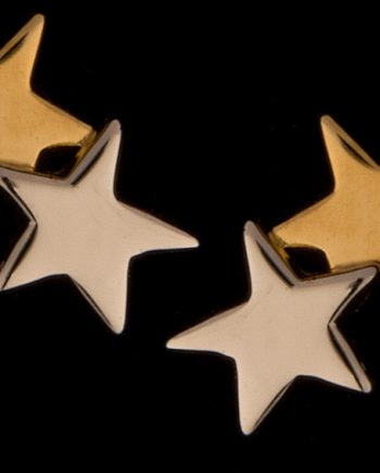 Double Star Rhodium Polished Post Earrings 14K Yellow Gold-0