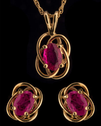 Ruby Knot Necklace and Earring Set 14K Yellow Gold-0