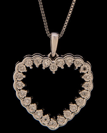 Miracle Plate Diamond Heart Pendant 0.12ctw in Sterling Silver-0