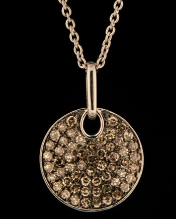 Brown Diamond 0.50ctw Circle Pendant in Sterling Silver-0