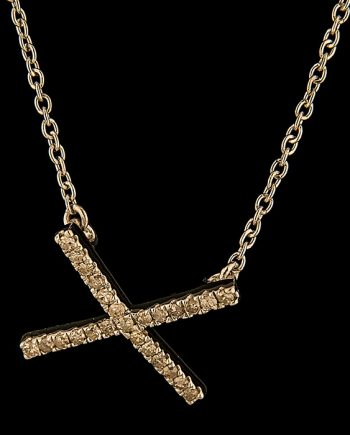 Diamond 0.20ctw X Necklace in Sterling Silver-0