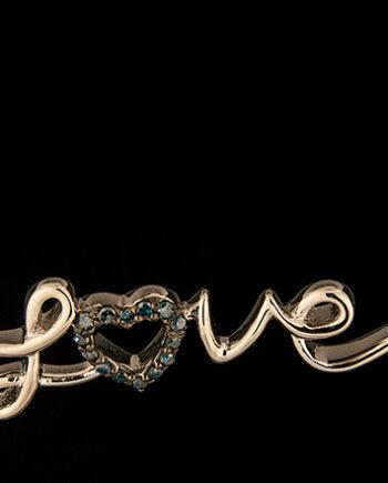Blue Diamond .06ctw Love Pendant in Sterling Silver-0
