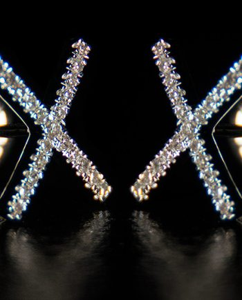 "Diamond 0.25ctw ""X"" Post Earrings in Sterling Silver-0"