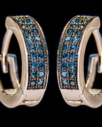 Blue Diamond 0.20ctw Hoop Earrings in Sterling Silver-0