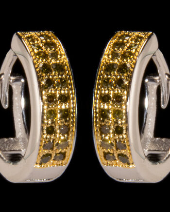Yellow Diamond 0.20ctw Hoop Earrings in Sterling Silver-0