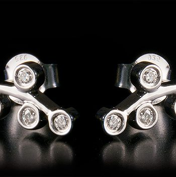 Diamond 0.25ctw Ear Climber Earrings in Sterling Silver-0