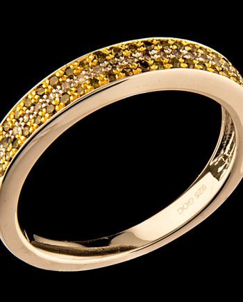 Yellow and White Diamond 0.27 Three Row Diamond Band in Sterling Silver-0