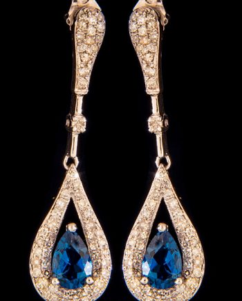 Diamond 0.33ctw and Blue Topaz Drop Earrings in 14K White Gold-0