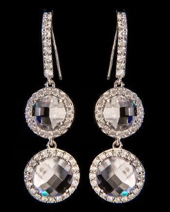 Double Cubic Zirconium Dangle Earrings in Sterling Silver-0