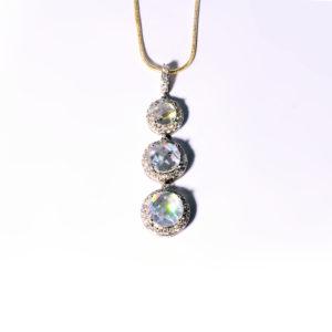 Triple Drop Cubic Zirconium Necklace in Sterling Silver