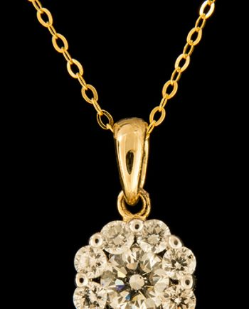 Diamond 0.66ctw Flower Cluster Pendant in 14K Yellow Gold-0
