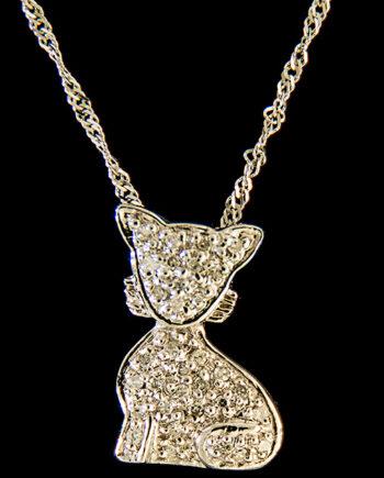 Diamond 0.09ctw Cat Pendant in 14K White Gold-0