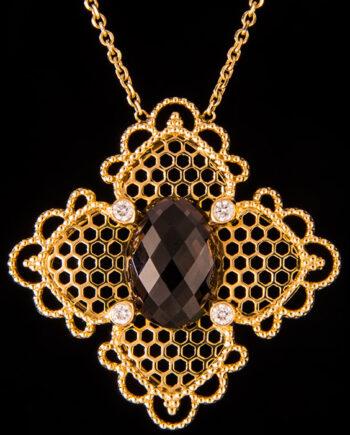Diamond 0.18ctw and Smokey Topaz 6.10ctw in 18K Yellow Gold-0
