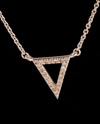 Diamond 0.17 Triangle Necklace in Sterling Silver-0