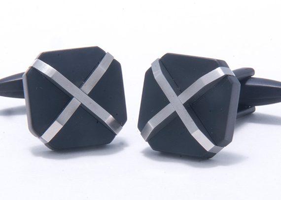 Black Stainless Steel X Pattern Cufflinks-0