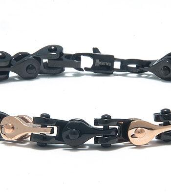 Black and Rose Stainless Steel Clipper Bracelet-0