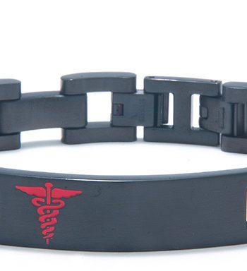 Black Stainless Steel Medic ID Plate Bracelet-0