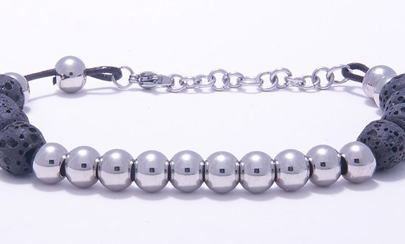 Men's Bracelet - Lava Beads Set in Black Stainless Steel-0
