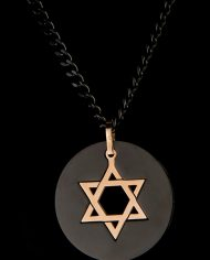 Jewish Star Pendant in Black Stainless Steel-0