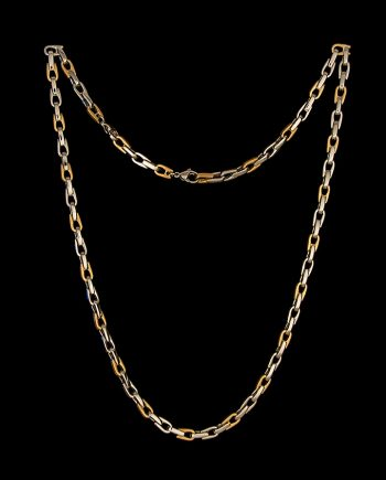 "Men's Stainless Steel Necklace Three Links Polished One Brushed 24""-0"