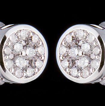 Cluster Diamond Bezel Earrings 0.25ctw in 14K White Gold-0