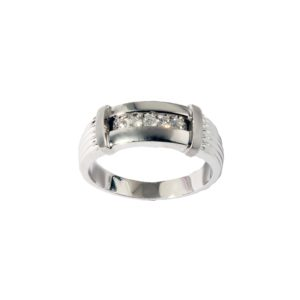 Men's Channel Bar Diamond Ring in 14K White Gold