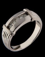 Men's Channel Bar Diamond Ring in 14K White Gold-0