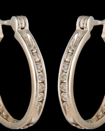 Diamond 0.15ctw Hoop Earrings in 14K White Gold-0