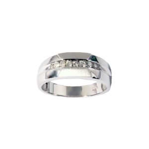 Men's Nine Stone Diamond 0.27 Wedding Band in 14K White Gold