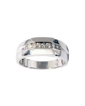 Men's Nine Stone Diamond 0.27 Wedding Band in 14K White Gold