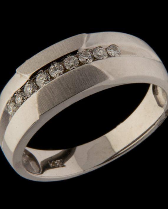 Men's Nine Stone Diamond 0.27 Wedding Band in 14K White Gold-0