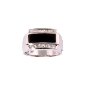 Gents Diamond 0.39 ctw and Onyx Ring in 14K White Gold