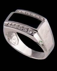 Gents Diamond 0.39 ctw and Onyx Ring in 14K White Gold-0