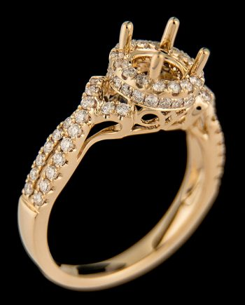 Diamond 0.68 ctw Engagement Ring Semi-Mount in 14K Yellow Gold-0