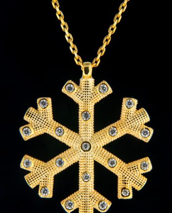 Yellow Plated Snowflake Necklace-0