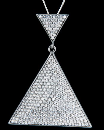 Cubic Zirconium Black Plated Triangle Drop Necklace in Sterling Silver-0