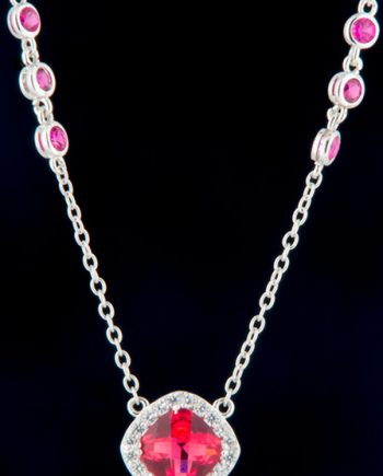 Cubic Zirconium and Ruby Fashion Necklace in Sterling Silver-0