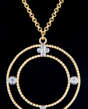 Cubic Zirconium Gold Plated Round Drop Necklace in Gold Plated Sterling Silver-0
