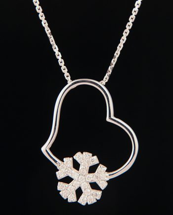 Diamond Heart and Snowflake Pendant in 18K White Gold-0